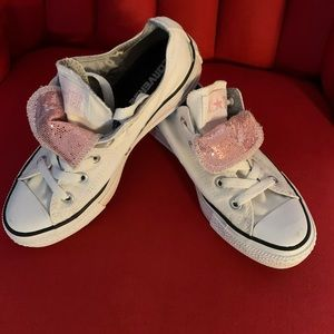 White Converse with Pink Sequins - Sz 6